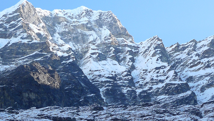 "Kusum Kanguru, Nepal, southwest face, by Barry Blanchard. The name means ""Three Snow-White Gods"" in the Sherpa language, which refers to the triple summit."