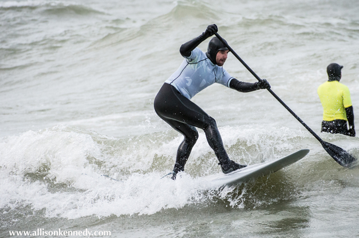 The man with the weight of the world on his shoulders this October... Local surfer Josh Kincardine was tasked with making the call based on the forecast for the competition. Gordon went on to win the SUP division.