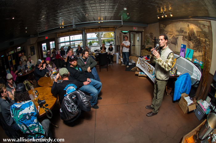 The crowd moved to the Bruce Steakhouse for awards, beer and burgers. The Eastern Surfing Association's Aurelien Bouche-Pillon speaks to the crowd. The event was sanctioned and supported by the ESA.