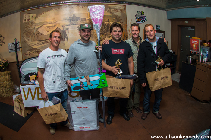 SUP division winner Josh Gordon with second place Elliot Woolner and third place Zachary Brajuha.