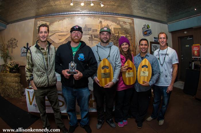 Aloha Spirit Award winners Scott Johns, Josh Gordon, Helene Fillion, and Antonio Acuna.