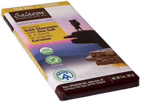 Salazon bars bear the Appalachian Trail logo on each wrapper.