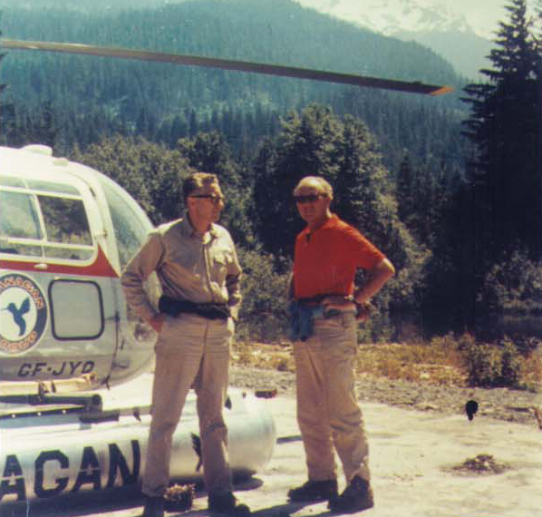 Franz Wilhelmsen, President of Garibaldi Lifts Ltd. and Consultant Willy Schaeffler ready for ascent on Whistler Mountain, spring 1961. Photo courtesy Whistler Museum.