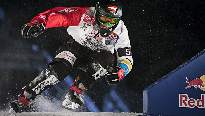 Marco Dallago of Austria performs during the finals of the Red Bull Crashed Ice, the last stop of the Ice Cross Downhill World Championship in Quebec, Canada on March 22, 2014. Samo Vidic/Red Bull Content Pool.