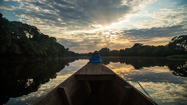 Each morning we cruised through a system of channels and lagoons to reach the main stem of the river. The hour-long ride was a perfect chance to behold the mystical energy and teeming wildlife of this pristine Amazonian jungle. Photo by Ian Provo. Courtesy OutdoorResearch.com