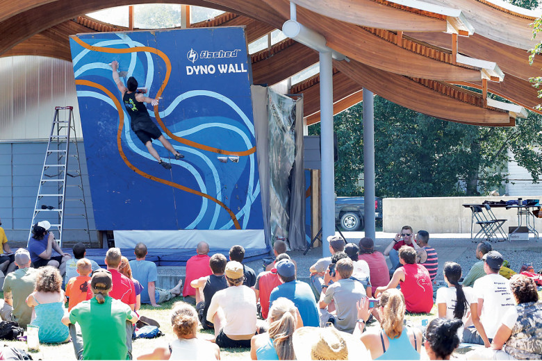 The infamous dyno wall. Photo courtesy of Squamish Mountain Festival.