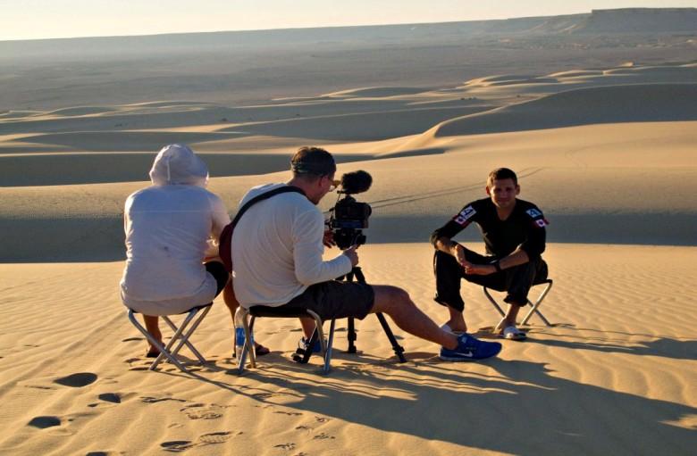 Donato (far right) filming Boundless in Egypt. Photo courtesy Travel+Escape.