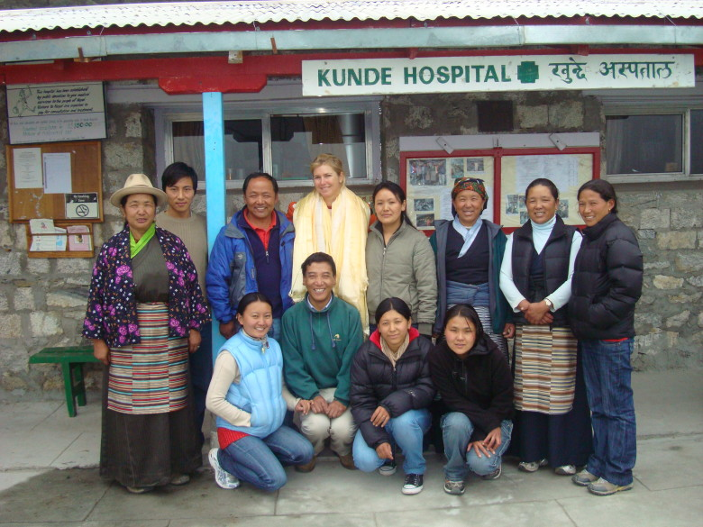 Karen O'Connor with the staff of the Kunde Hospital, including Dr. Kami Temba Sherpa.