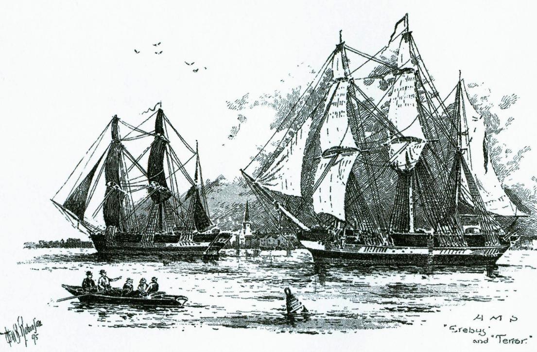Artist's rendition of Capt. Franklin's ships.