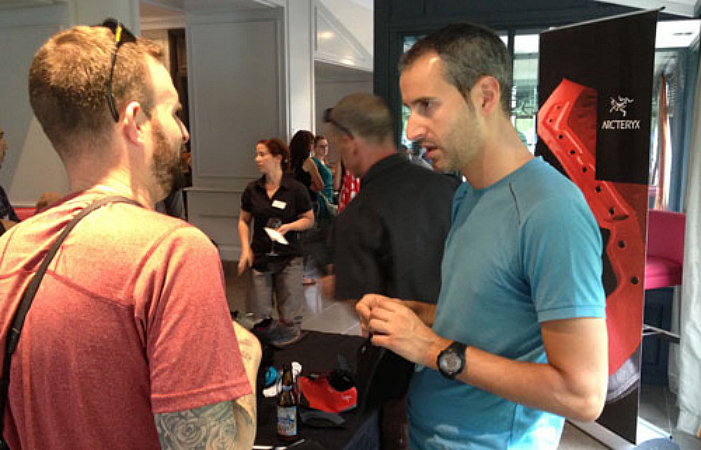 Federico Sbrissa (right) at the Arc'Teryx footwear launch earlier this year. Photo courtesy www.snewsnet.com