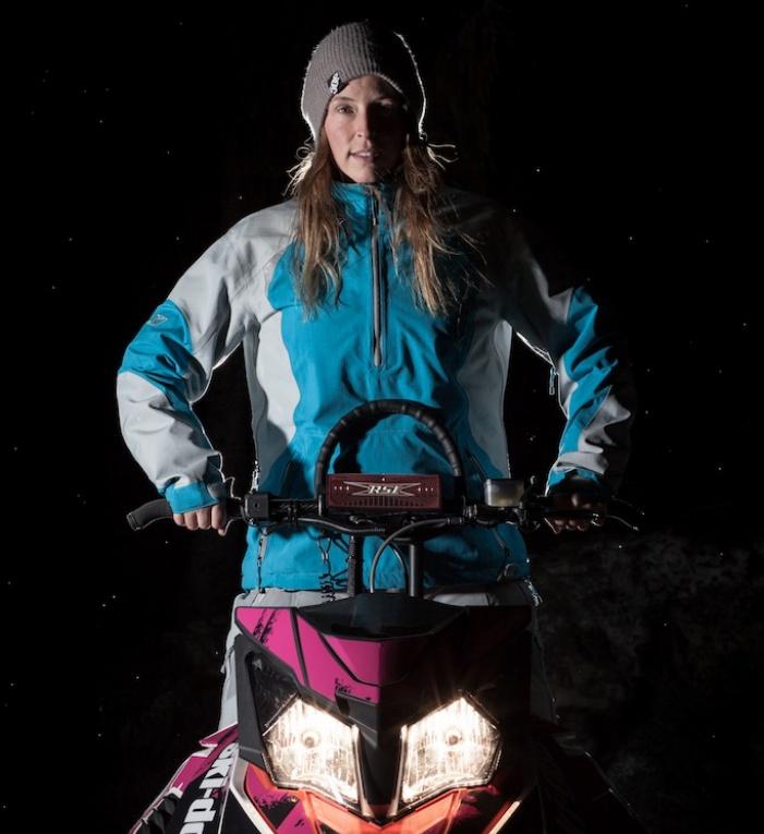 Julie-Ann and her beloved sled. Photo credit: Conrad Petzsch-Kunze