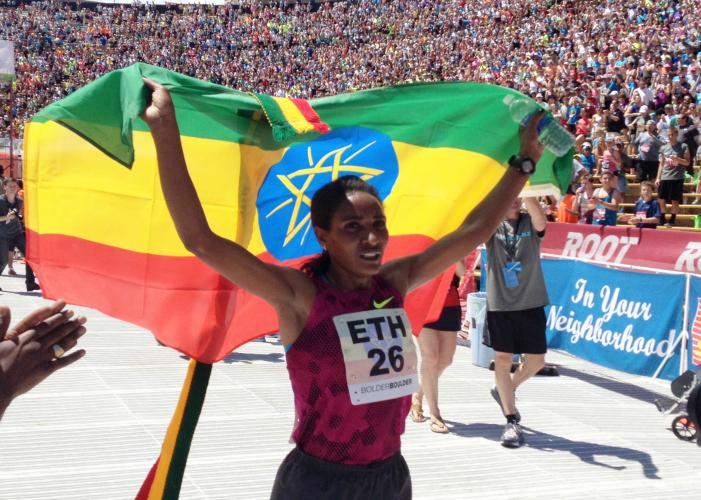 2014 BolderBoulder Women's winner Mamitu Daska of Ethiopia.