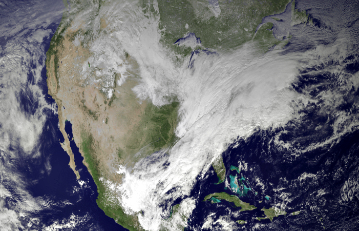 A NASA GOES 13 satellite image of the severe winter weather on January 2, 2014. Via Wikimedia Commons.