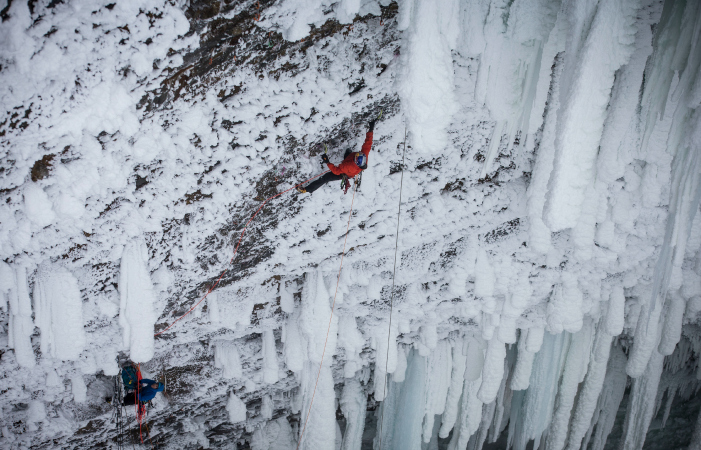 Unclimbable? Will Gadd at Helmcken. Photo courtesy Banff Centre.
