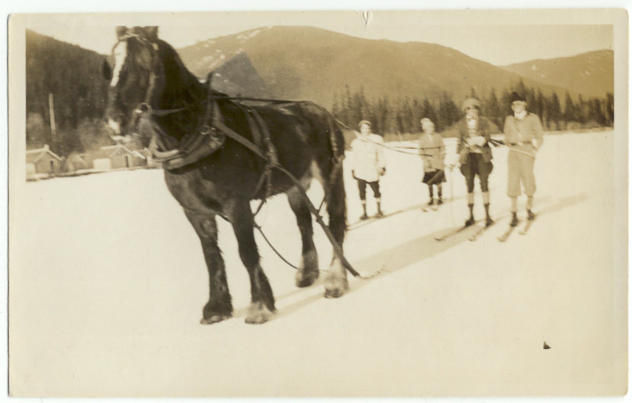 Ski fun at the Rainbow Lodge. Guests on skis are pulled by a horse. Courtesy Whistler Museum.