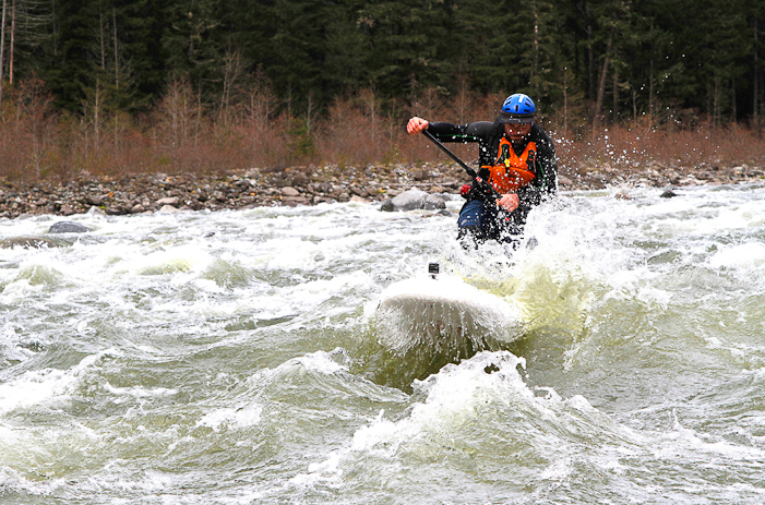 Jonny B crashing through some of the many great rapids on the Elaho. JIMMY MARTINELLO PHOTO.