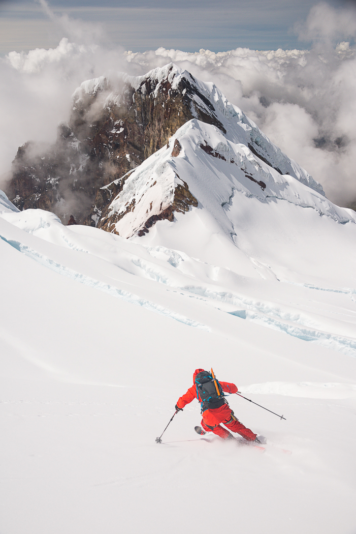 Andrew Findlay heading down the south face of Antisana with the west spur behind. STEVE OGLE PHOTO.