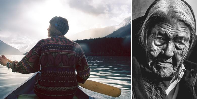 LEFT: Anna Langstrand, quiet paddle. RIGHT: Dene elder in Wrigley, NWT.