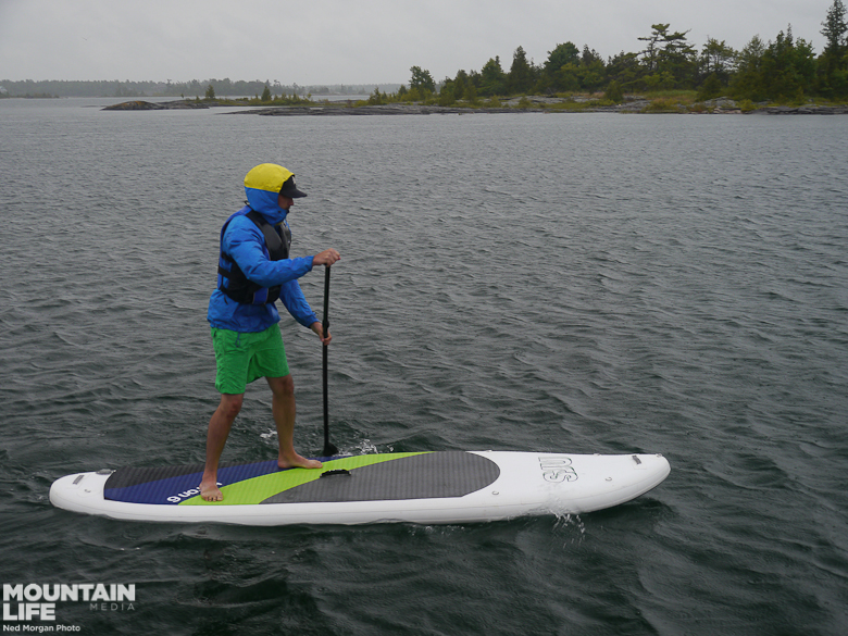 Rainy Homewaters on the NRS Baron 6 inflatable.