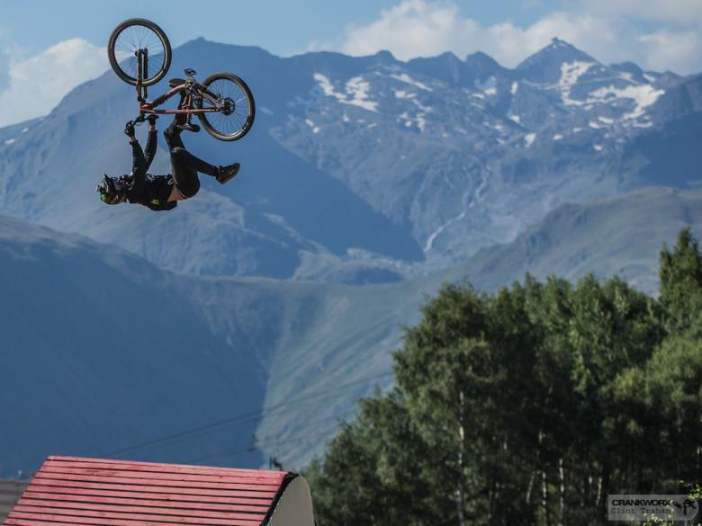 Brett Rheeder of Canada on the Slopestyle course at Crankworx Les Deux Alpes in France (P: Clint Trahan/ Crankworx)
