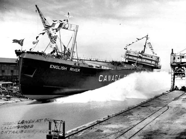 The original sidelaunch. Photo courtesy Collingwood Museum archives.