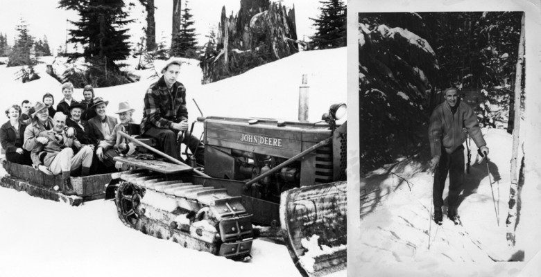 West Vancouver council members on Hollyburn Ridge, towed by Fred Burfield on the John Deere tractor. To identify individuals, see Bas Collins DOC 04.tif. (Bas Collins Collection