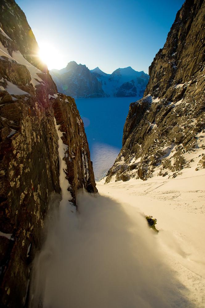Chad Sayers in Sam Ford Fjord, Baffin Island, Canada