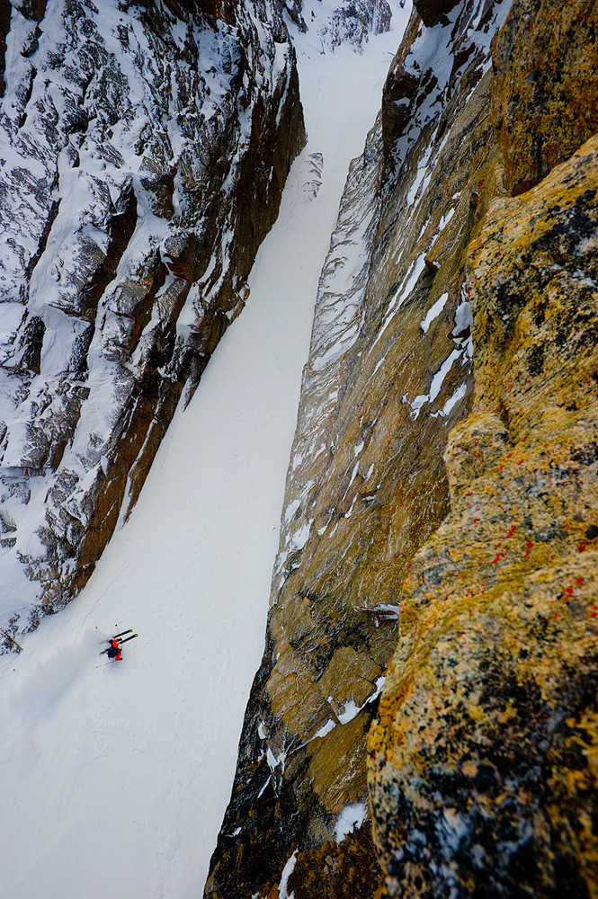 Chad Sayers skiing in Sam Ford Fjord, Baffin Island, Canada. Taken from the cliff face 150ft above the deck.