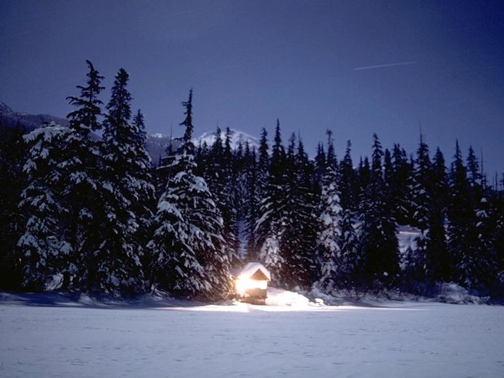 Alta Lake cabin on winter night