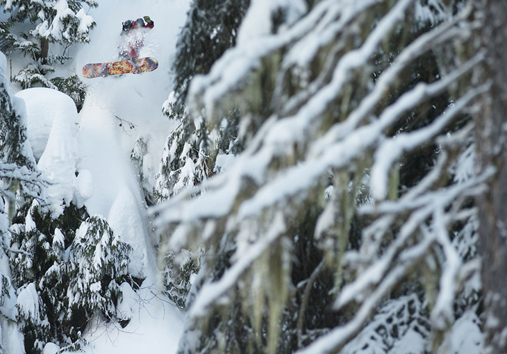 I snapped this shot of Mikey Wilcox doing a classic method air through the trees at Island Lake Lodge. I remember being excited about all the cool trees to frame the image with.