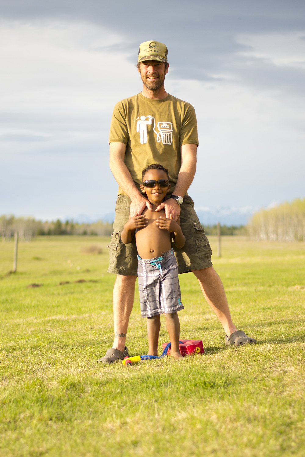 Dave Quinn and son Tumelo at their home near Kimberley, BC