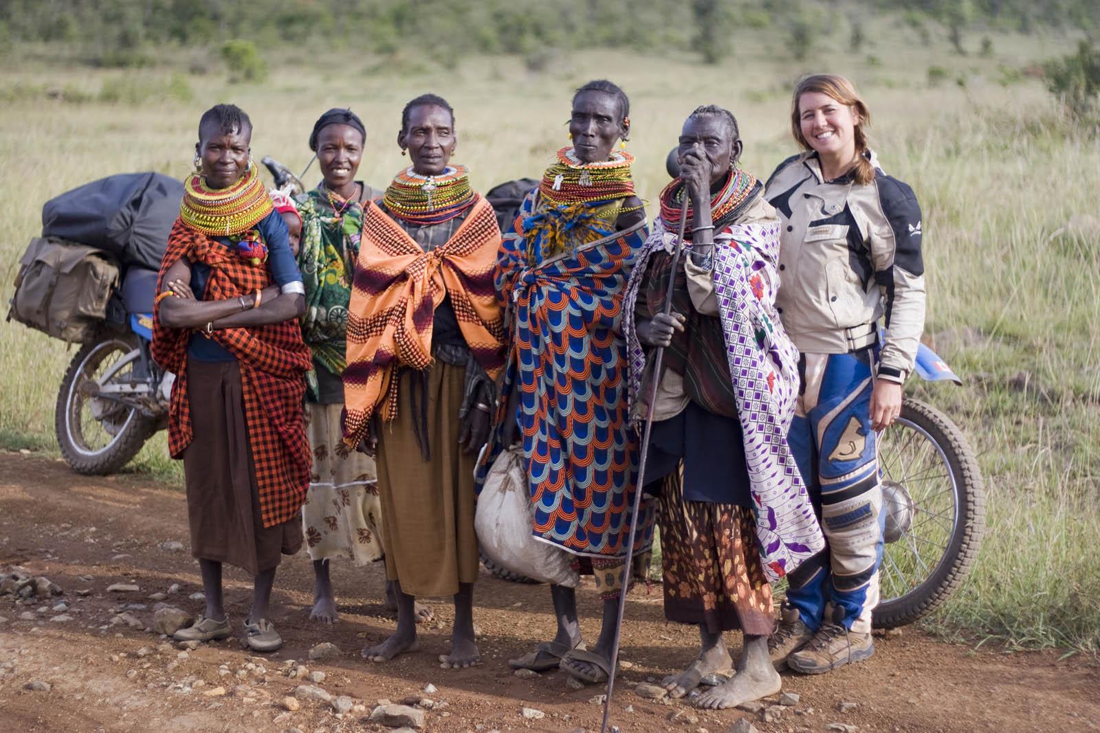 Christina with Turkana tribeswomen, near Kisima, Kenya.
