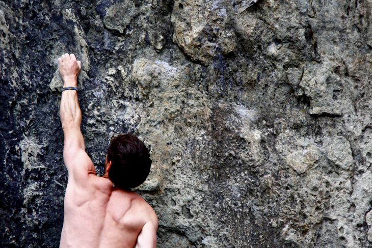 Jimmy Martinello climbing at Nordic crag in Whistler, BC. May 2012.