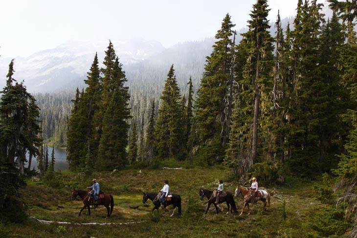 Horseback riding in the Callaghan Valley near Whistler, BC.