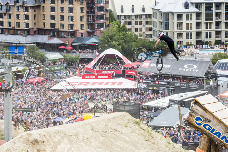 Brandon Semenuk performs at the Red Bull Joyride in Whistler, Canada on August 21st, 2016