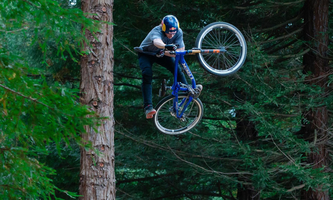 Drew Bezanson rides the Crankworx Slopestyle course in Rotorua, New Zealand on March 14, 2016