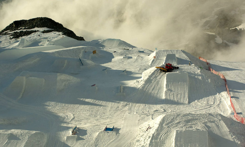 Grooming the jumps on the Horstman Glacier, Blackcomb, bc