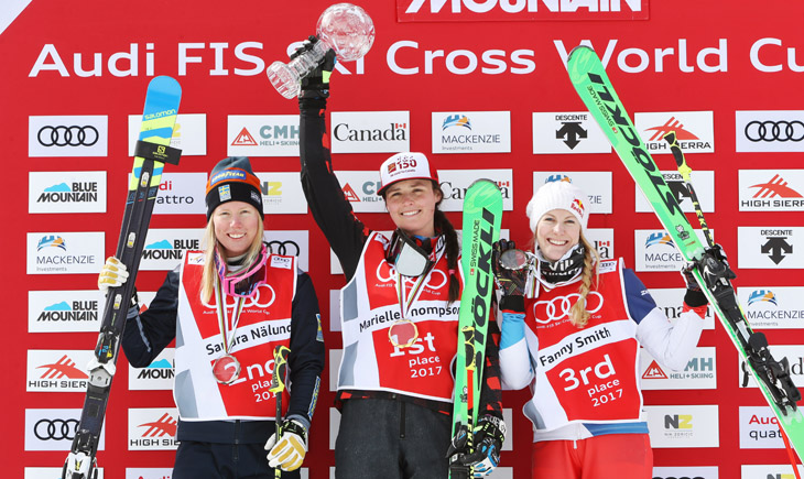 Sandra Naeslund (SWE), Marielle Thompson (CAN) and Fanny Smith (SUI). Keywords: Stoeckli, medal, trophy. Photo: GEPA pictures/ Matthias Hauer