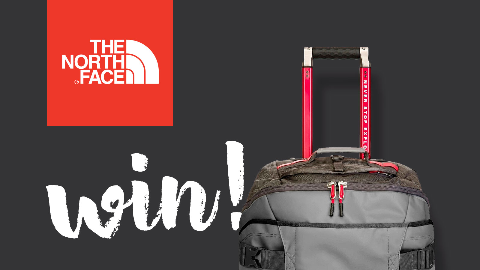 win a north face rolling thunder bag with mountain life
