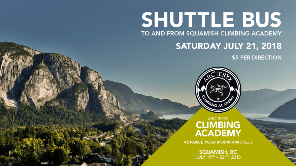 Arc'teryx Vancouver to Squamish Shuttle Bus Schedule