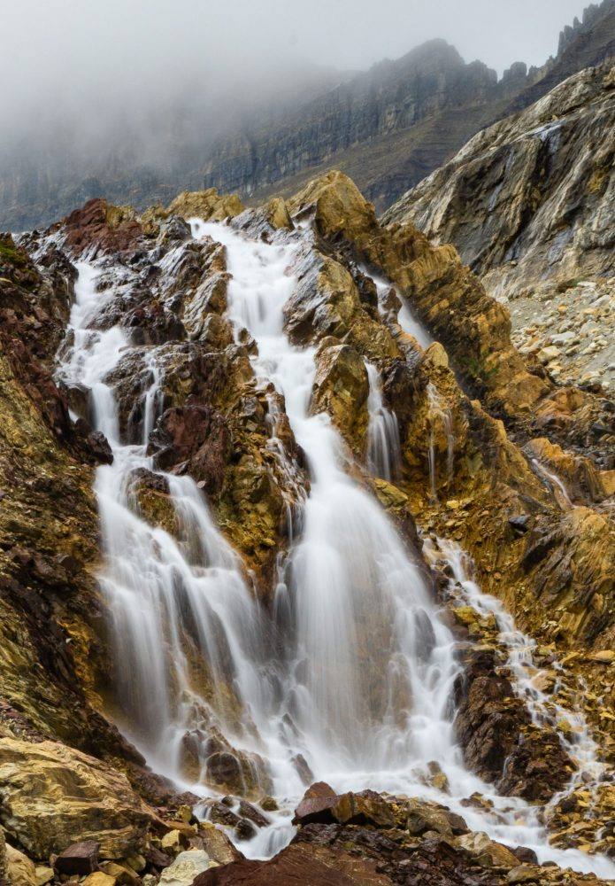 Glacial moraines are places of many gorgeous waterfalls. Yoho National Park.