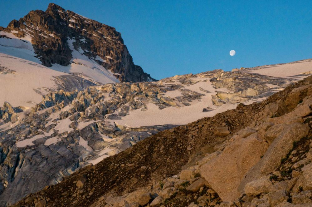 Moon over ice, Bugaboo Provincial Park.