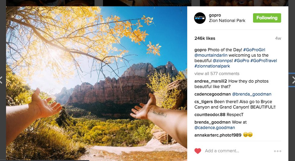 Sarah Bulford photo featured on GoPro's Instagram account.