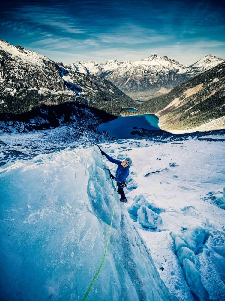 Ryan Larkin Topping out one of the many searc's in the Matter Icefall with Joffre Lakes bellow