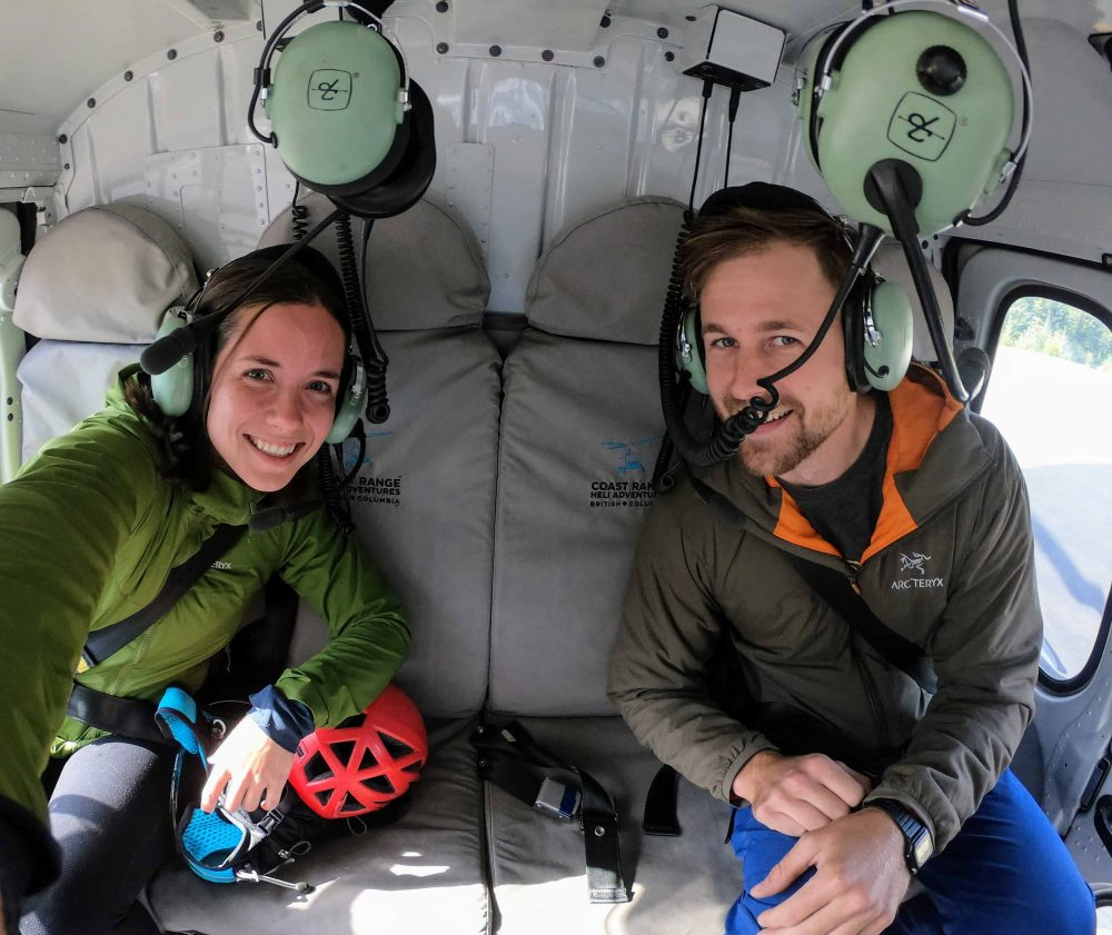 Sarah Bulford and Pearce Mundy in a helicopter headed towards Wedgemont