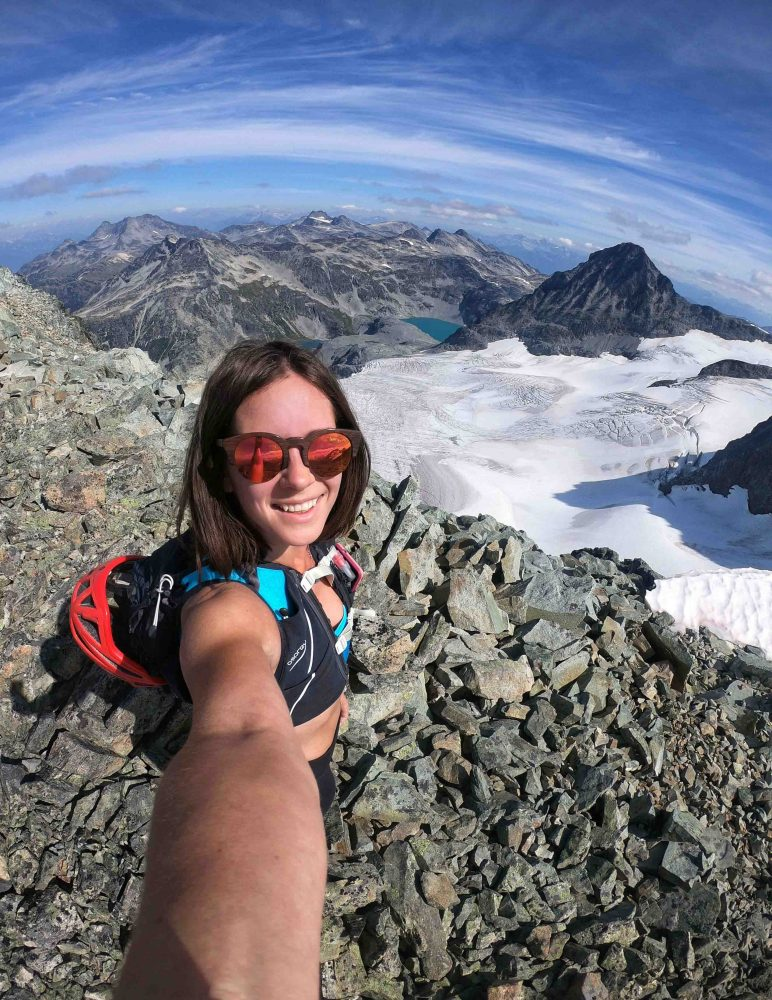 Sarah Bulford on the summit of Mount Cooke outside of Whistler, BC
