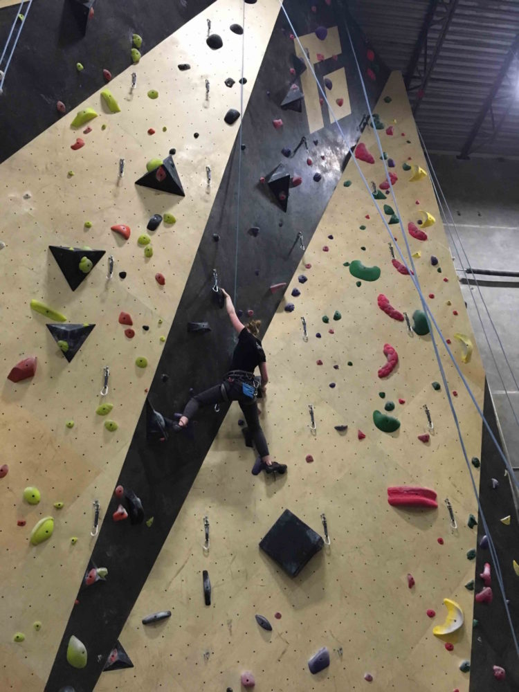 Samantha Schonewille climbing in the Squamish Gym