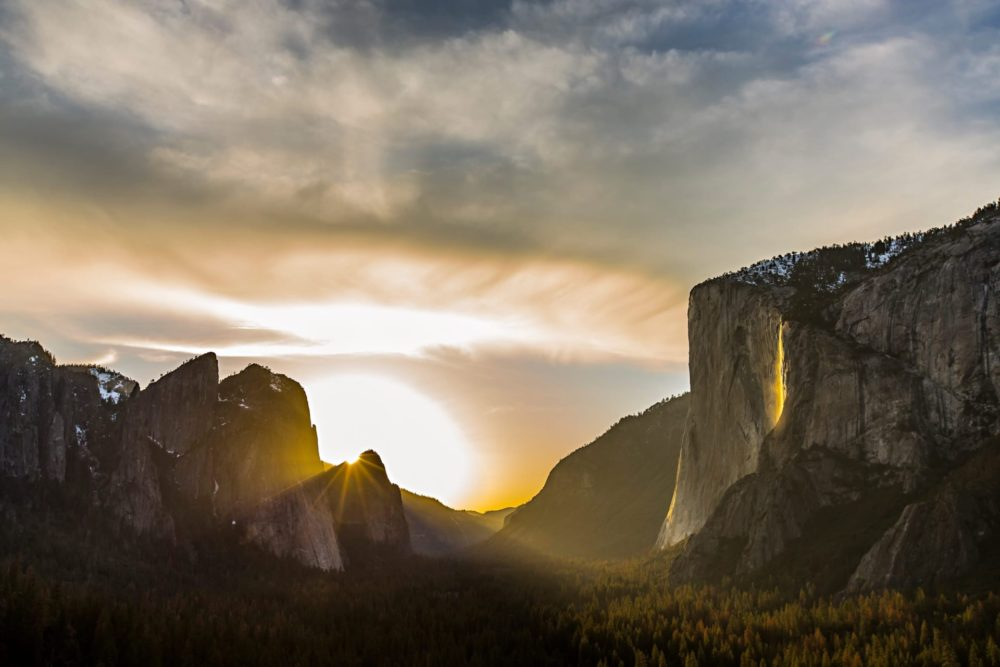 Sunset in Yosemite Valley, Dawn Wall on the right.