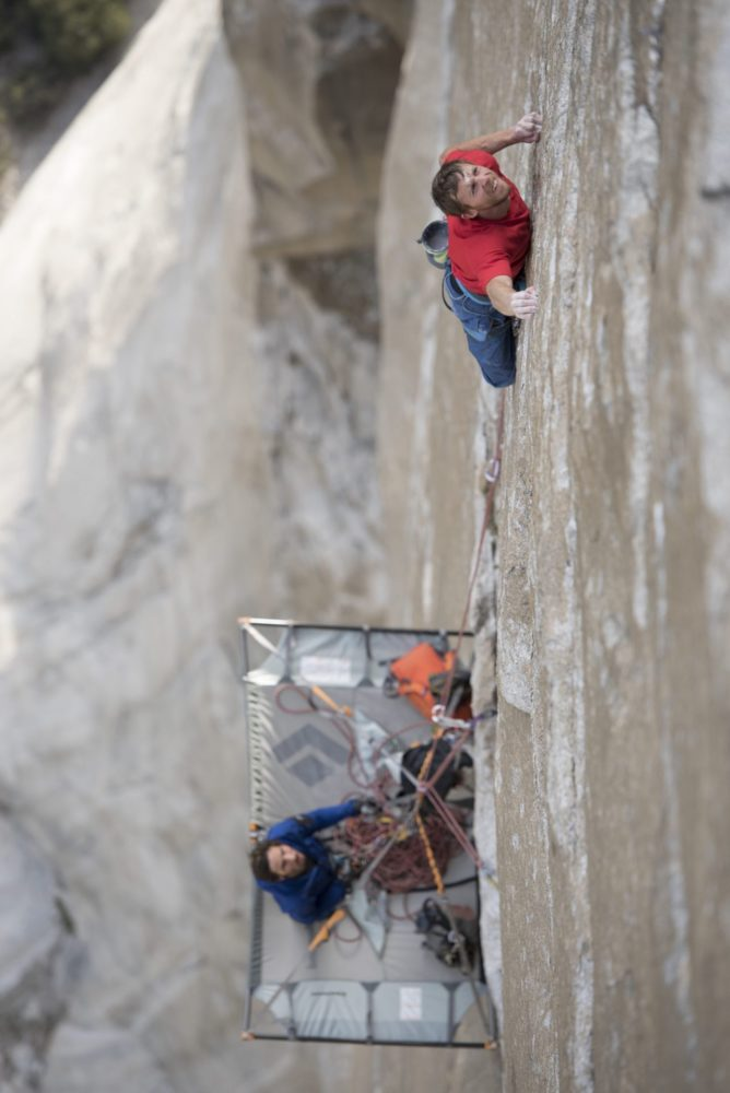 Tommy Caldwell climbing on the dawn wall
