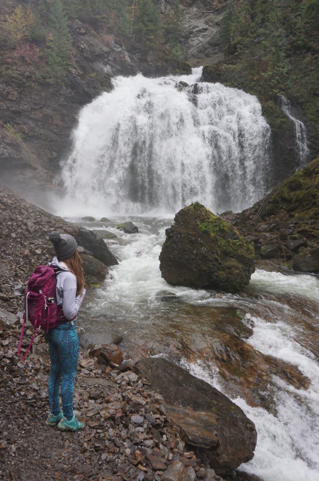 Corry Bondini enjoying the extra effort it takes to reach McDiramid Falls